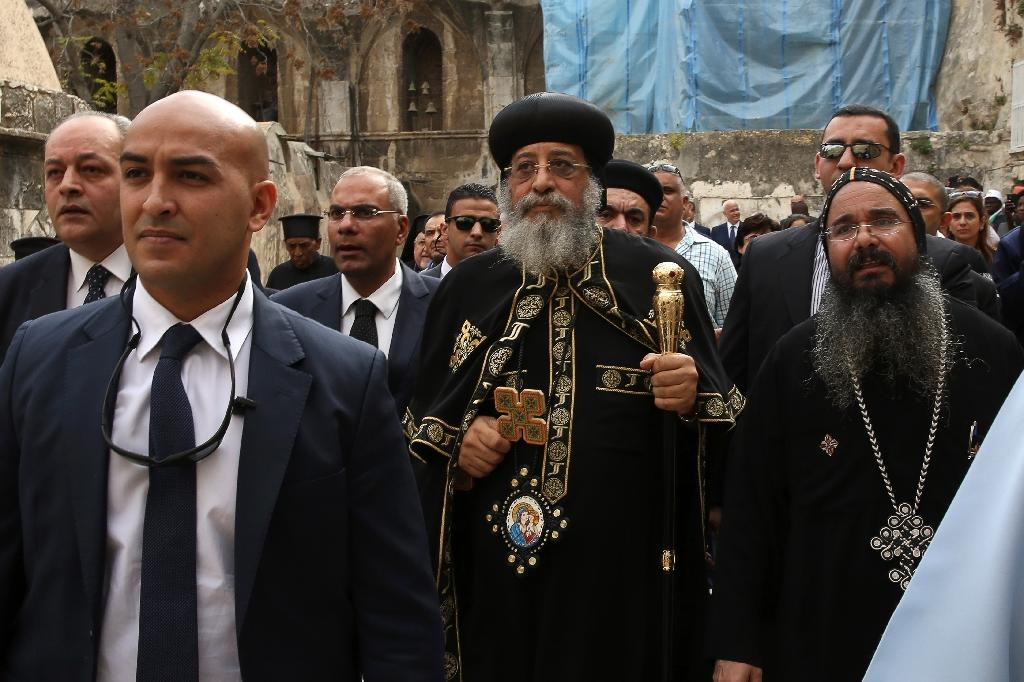 Coptic pope in Jerusalem for archbishop's funeral
