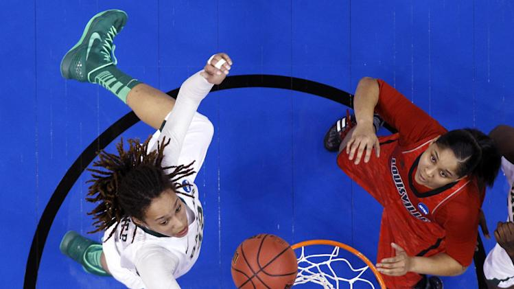 Baylor's Brittney Griner (42) and Louisville forward Monique Reid (33) reach for a rebound in the first half of a regional semifinal in the women's NCAA college basketball tournament in Oklahoma City, Sunday, March 31, 2013. Louisville won 82-81. (AP Photo/Sue Ogrocki)