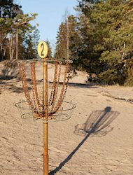 Disc golf basket.
