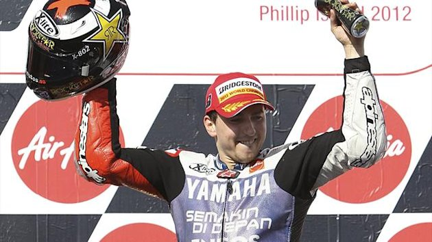 Yamaha MotoGP rider Jorge Lorenzo of Spain celebrates taking second place in the Australian Motorcycle Grand Prix at Phillip Island (Reuters)