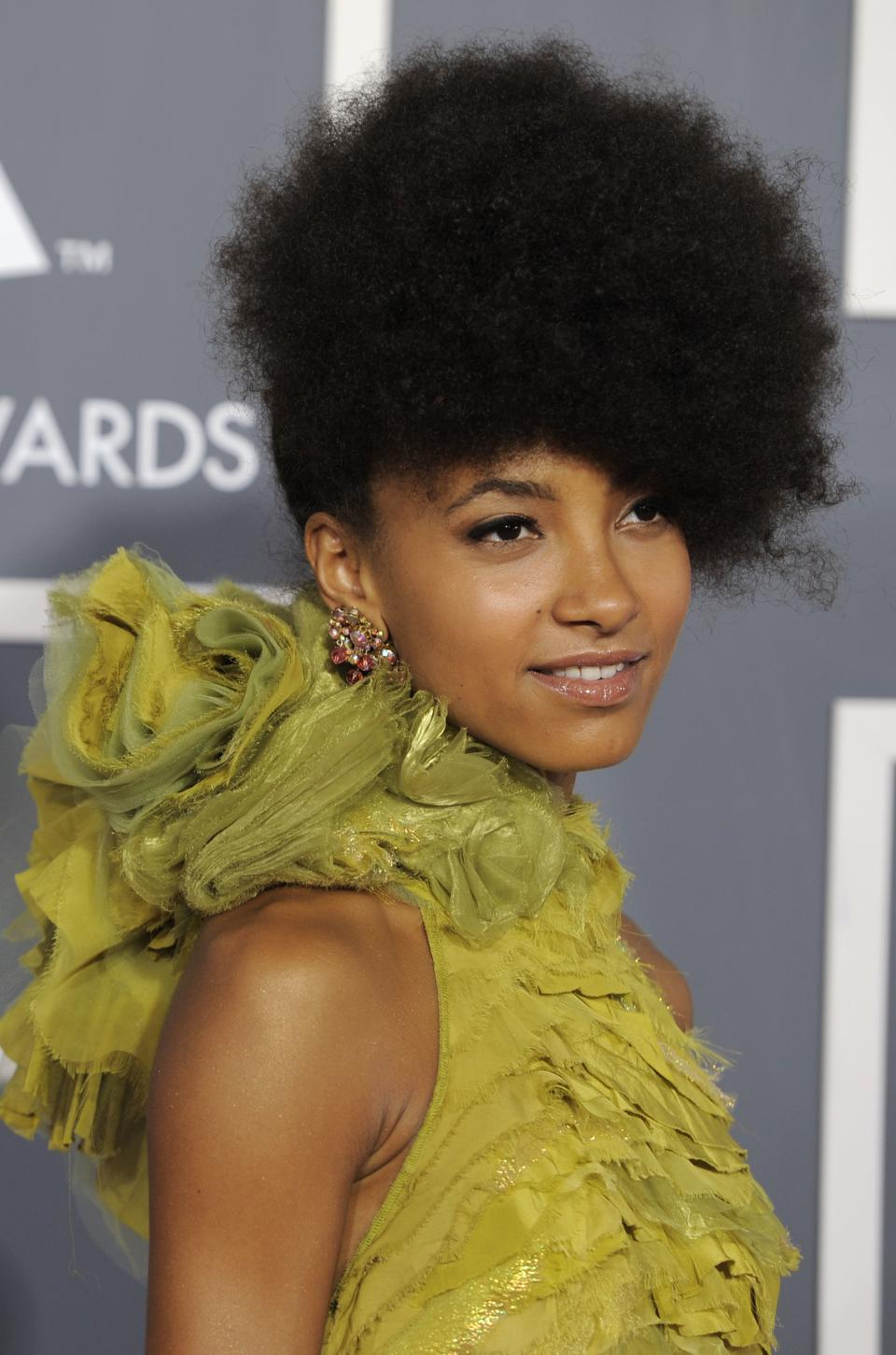 Esperanza Spalding arrives at the 53rd annual Grammy Awards on Sunday, Feb. 13, 2011, in Los Angeles. (AP Photo/Chris Pizzello)