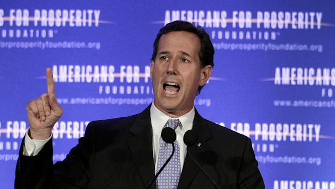 Republican presidential candidate, former Pennsylvania Sen. Rick Santorum speaks at the AFP Defending the Dream Conference in Milwaukee, Wis., Saturday, March 24, 2012. (AP Photo/Jae C. Hong)
