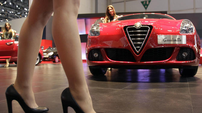 The Alfa Romeo Giulietta is on display on Wednesday, March 7, 2012 during the press preview days at the 82nd Geneva International Motor Show in Geneva, Switzerland.  The Motor Show will open it's doors to public from March 8 to 18, presenting more than 260 exhibitors and more than 180 world and European premieres. (AP Photo/Frank Augstein)