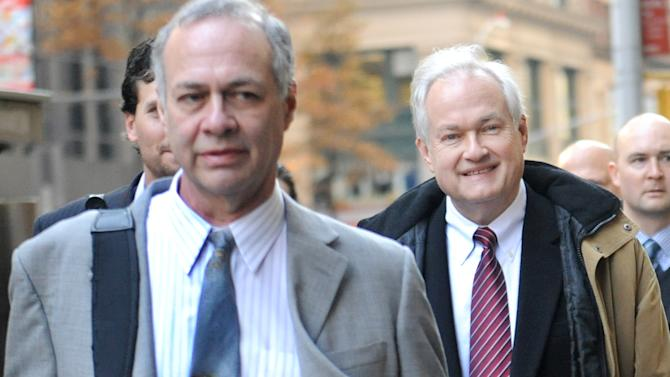 NHL Players' Association executive director Donald Fehr, right, arrives for labor talks at NHL headquarters in New York with his brother, NHLPA counsel Steven Fehr, left, Wednesday, Nov. 21, 2012, in New York. (AP Photo/ Louis Lanzano)