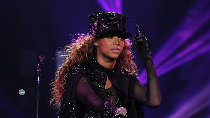 """Singer Beyonce performs on her """"Mrs. Carter Show World Tour 2013"""", on Monday, April 22, 2013 at the Ziggo Dome in Amsterdam, Netherlands. Beyonce is wearing a custom hand beaded one-piece by Givenchey. (Photo by Frank Micelotta/Invision for Parkwood Entertainment/AP Images.Singer Beyonce performs on her """"Mrs. Carter Show World Tour 2013"""", on Monday, April 22, 2013 at the Ziggo Dome in Amsterdam, Netherlands. Beyonce is wearing a custom hand beaded one-piece by Givenchey. (Photo by Frank Micelotta/Invision for Parkwood Entertainment/AP Images."""