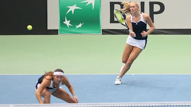 Jocelyn Rae (R) and Tara Moore (L) of Great Britain in action during the match against Timea Babos and Jani Luca-Reka of Hungary during the day three of Fed Cup Europe/Africa Group One fixture match between Great Britain and Hungary (Getty)
