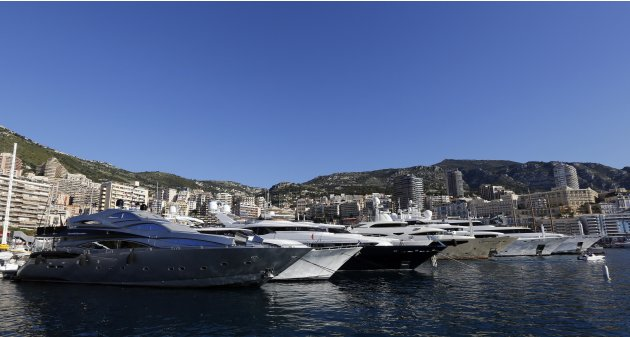 Yachts are seen in the Monaco harbor before the start of the first practice session of the Monaco F1 Grand Prix