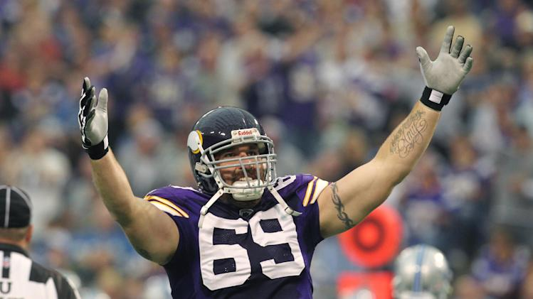 Minnesota Vikings defensive end Jared Allen gestures during the first half an NFL football game against the Detroit Lions on Sunday, Sept. 25, 2011, in Minneapolis. (AP Photo/Genevieve Ross)