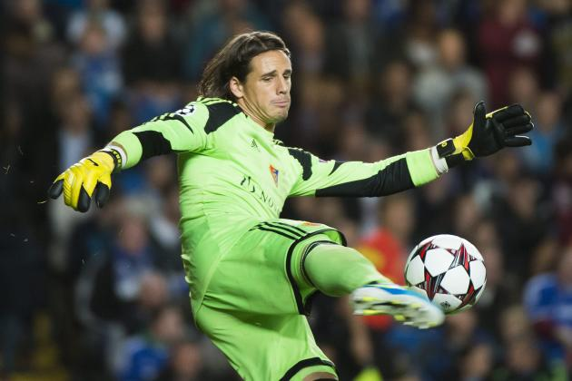 FILE - In this Sept. 18, 2013 file picture Basel's goalkeeper Yann Sommer, defends during the UEFA Champions League first round group E soccer match between Britain's Chelsea FC and Switzerlan