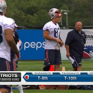 How did injuries affect New England Patriots tight end Rob Gronkowski's first day of training camp?
