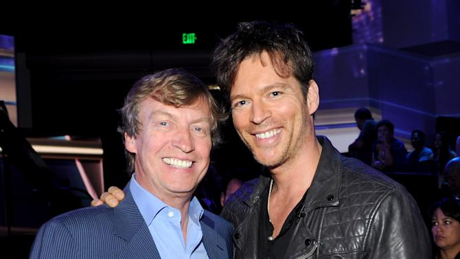 Executive producer Nigel Lythgoe and singer Harry Connick Jr. at FOX's American Idol Season 12 Top 4 To 3 Live Performance Show on Wednesday, May 1, 2013 in Hollywood, California. (Photo by Frank Micelotta/Invision for FOX/AP Images)