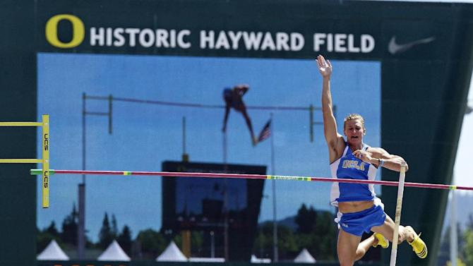 UCLA's Dominic Giovannoni bar during the pole vault event in the decathlon competition at the NCAA Track and Field Championships in Eugene, Ore., Thursday, June 6, 2013.(AP Photo/Don Ryan)
