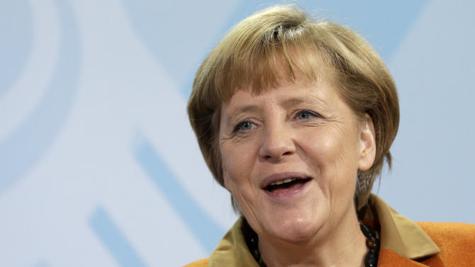 German Chancellor Angela Merkel speaks during a presentation by the German government's independent panel of economic advisers of the prognosis for Germany's economy in the upcoming year at the chancellery in Berlin, Germany, Wednesday, Nov. 7, 2012. (AP Photo/Michael Sohn)