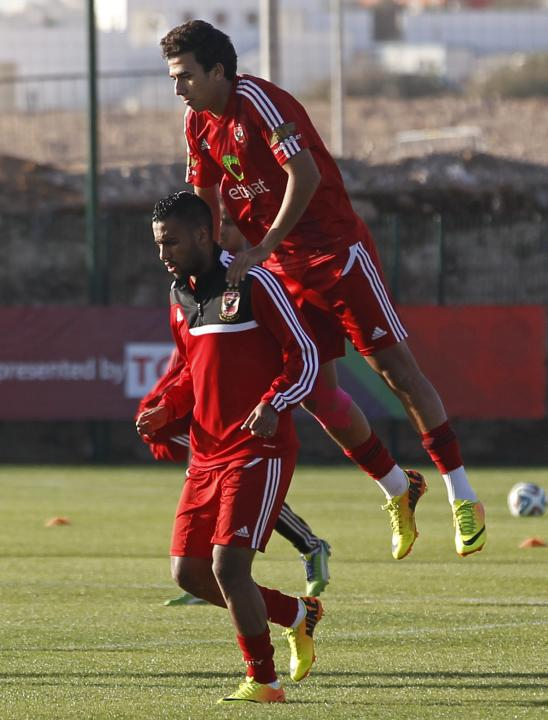 Trezegeut and Ashour of Egypt's Al Ahly attend a practice session in preparation for the FIFA Club World Cup in Agadir