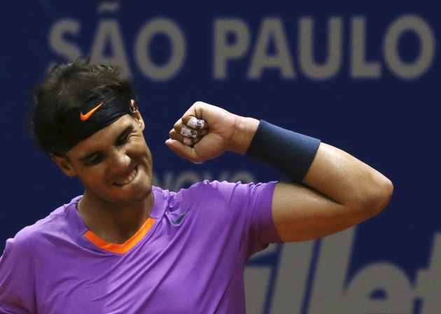 Nadal of Spain celebrates defeating Nalbandian of Argentina to win the Brazil Open tennis tournament in Sao Paulo