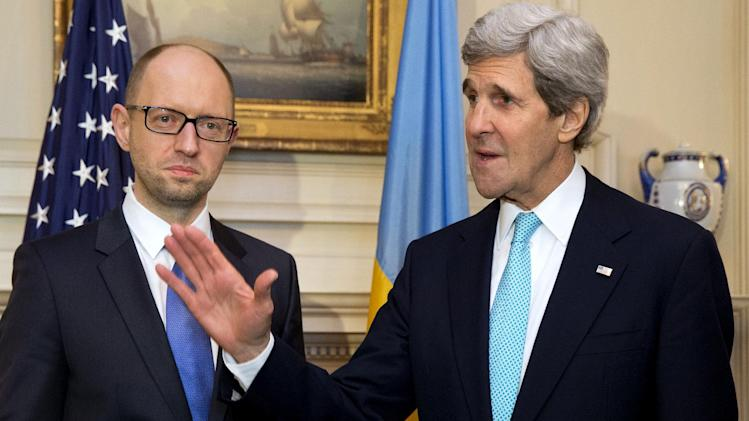 Secretary of State John Kerry meets with Ukraine Prime Minister Arseniy Yatsenyuk at the State Department in Washington, Wednesday, March 12, 2014. Later, the prime minister will meet with President Barack Obama at the White House. (AP Photo/Jacquelyn Martin)