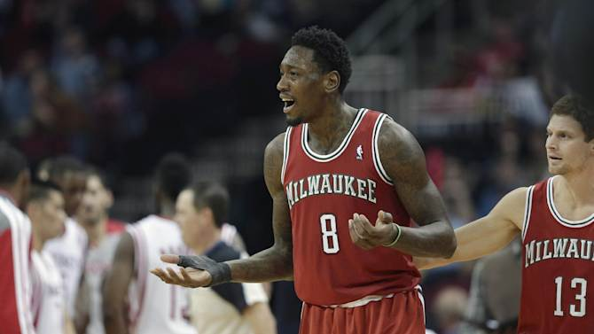 Milwaukee Bucks' Larry Sanders (8) reacts after being called for a technical foul against the Houston Rockets during the third quarter of an NBA basketball game, Saturday, Jan. 18, 2014, in Houston. The Rockets won 114-104
