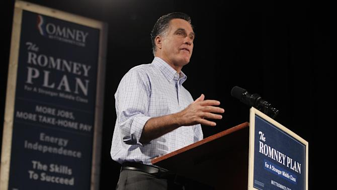 FILE - In this Aug. 8, 2012 file photo, Republican presidential candidate and former Massachusetts Gov. Mitt Romney campaigns in Des Moines, Iowa. Mitt Romney faces urgent tasks as he heads into a new phase of the White House race: repair an image shattered by negative Democratic advertising and shift the trajectory of a campaign that's seen him lose ground to President Barack Obama. He's got opportunities, starting with a big swing-state bus tour beginning Saturday and then his critical running mate announcement and the TV hoopla of a national convention. (AP Photo/Charles Dharapak, File)