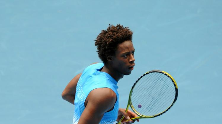 Gael Monfils of France celebrates victor