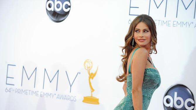 """Actress Sofia Vergara from """"Modern Family"""" arrives at the 64th Primetime Emmy Awards at the Nokia Theatre on Sunday, Sept. 23, 2012, in Los Angeles.  (Photo by Jordan Strauss/Invision/AP)"""