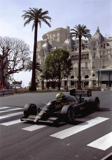 driver Ayrton Senna drives his JPS-Lotus Formula One racing car