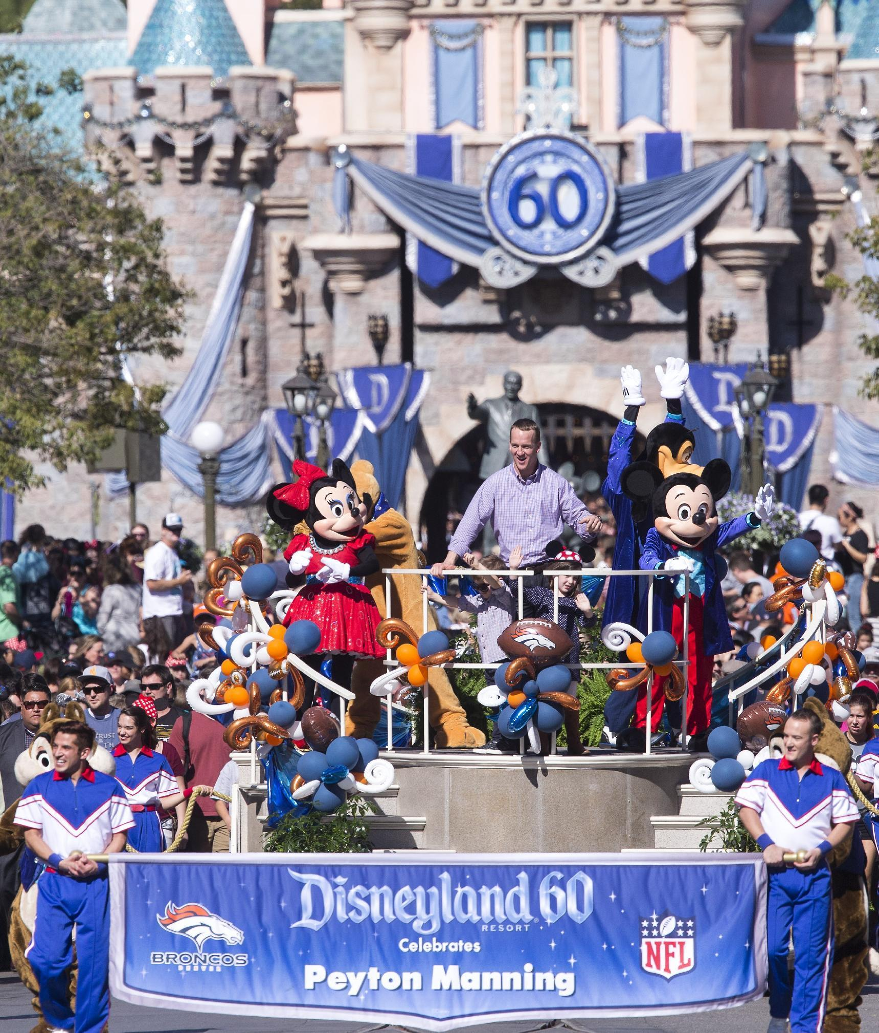 Peyton Manning celebrates Super Bowl 50 win at Disneyland