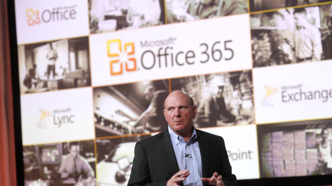 In this photo provided by Microsoft, CEO Steve Ballmer launches Microsoft Office 365, Tuesday, June 28, 2011 in New York. Office 365 brings together Microsoft Office with SharePoint, Exchange and Lync Online for a monthly subscription. (AP Photo/Microsoft, Jason DeCrow)