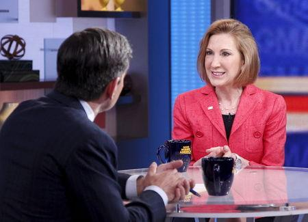 Former Hewlett-Packard Co Chief Executive, Carly Fiorina, is interviewed on Good Morning America in New York