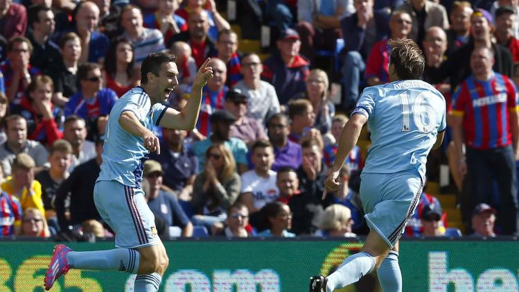 West Ham United's Downing celebrates with Noble after scoring a goal against Crystal Palace during their English Premier League soccer match at Selhurst Park in London