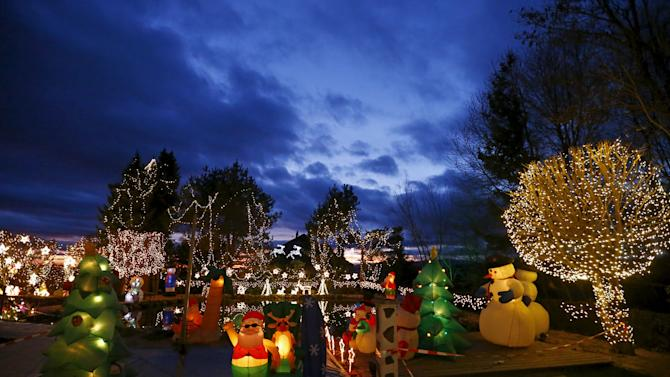 A general view shows the Christmas decoration at a country house estate in the village of Bad Tatzmannsdorf, Austria