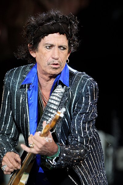 Keith Richards performing with The Rolling Stones at The Isle of Wight Festival in 2007