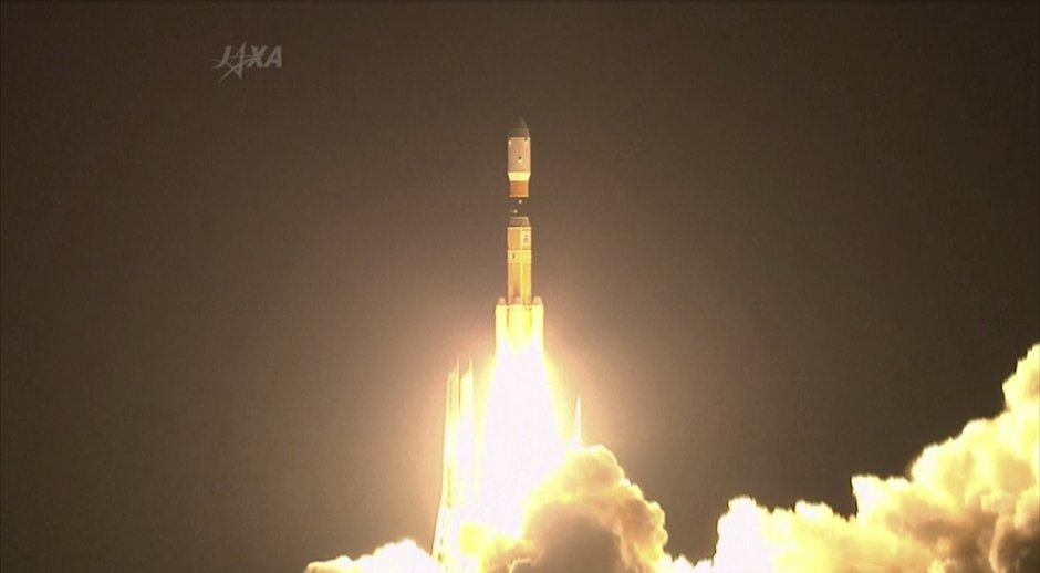 In this photo taken from video Japan's H-2B rocket lifts off from a launch pad at the Tanegashima Space Center in Tanegashima, southern Japan, Sunday, Aug. 4, 2013. Japan successfully launched the un-manned cargo transporter Sunday carrying close to five and a half tons of supplies and equipment, along with a small robot which will serve as a companion to Japanese astronaut Koichi Wakata who is onboard the International Space Station. (AP Photo/JAXA via AP video) MANDATORY CREDIT