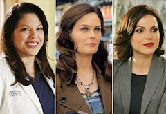 Sara Ramirez, Emily Deschanel, Lana Parrilla | Photo Credits: Ron Tom/ABC; Greg Gayne/FOX; David Gray/ABC