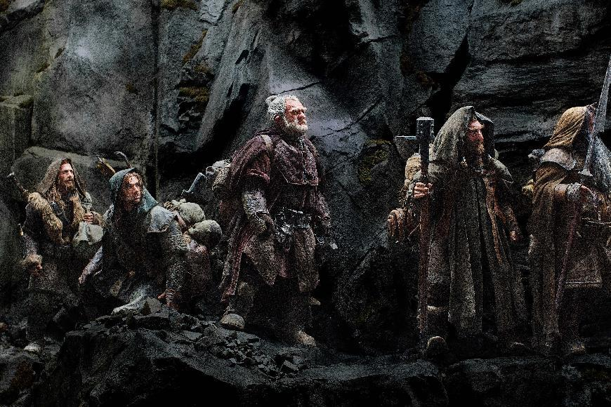 "This publicity film image released by Warner Bros., shows, from left: Dean O'Gorman as Fili; Aidan Turner as Kili; Mark Hadlow as Dori; Jed Brophy as Nori; and William Kircher as Bifur, in a scene from the fantasy adventure ""The Hobbit: An Unexpected Journey."" (AP Photo/Warner Bros, File)"