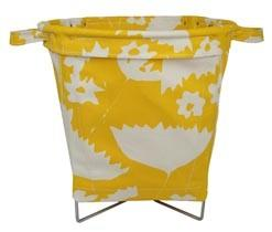 Yellow Floral Fabric Basket