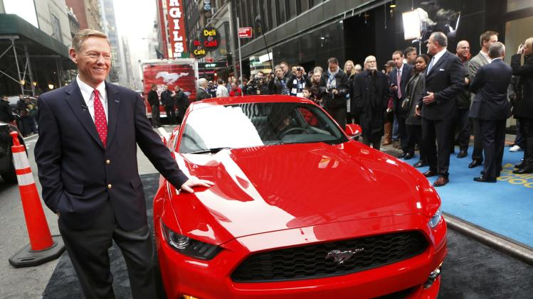 Ford Motor Co. CEO Alan Mulally unveils its all new 2015 Ford Mustang on ABC's Good Morning America in New York