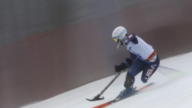 Stephanie Jallen of the U.S. skis in the Slalom leg of the Women's Standing Super Combined event at the 2014 Sochi Paralympic Winter Games at the Rosa Khutor Alpine Center