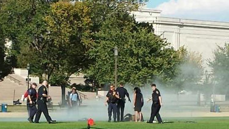 Vanessa Sink handout photo shows first responders and people assisting a man who apparently set himself on fire at the National Mall in Washington