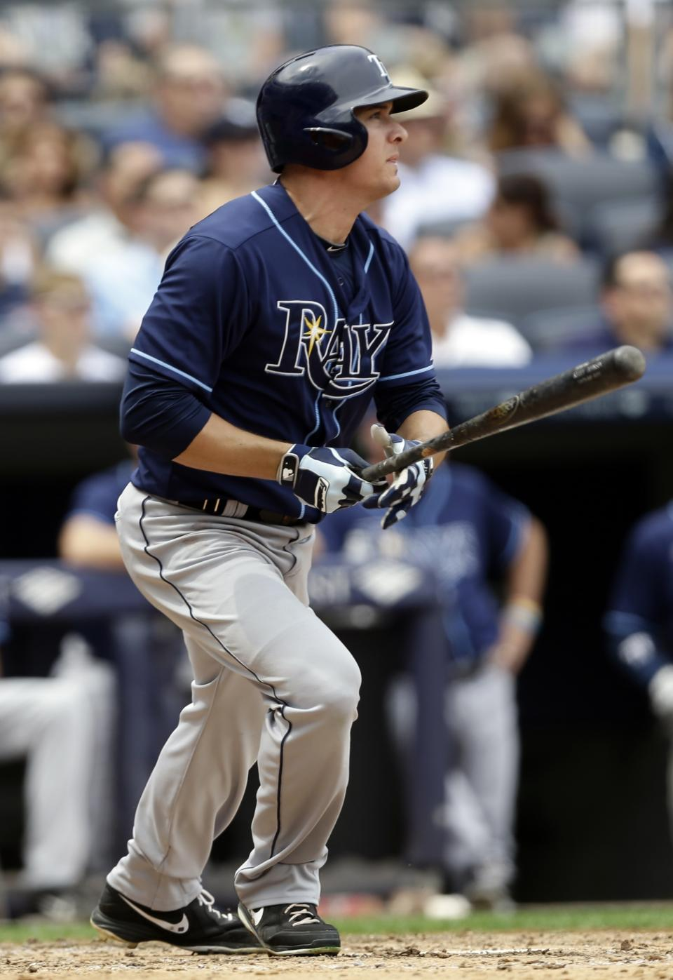 Tampa Bay Rays' Kelly Johnson watches his RBI single during the sixth inning of a baseball game against the New York Yankees Saturday, July 27, 2013, in New York. (AP Photo/Frank Franklin II)