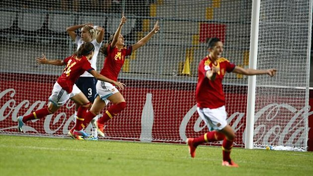 Spain's Alexia Putellas celebrates the winning goal against England at the Women's Euro
