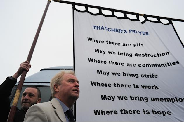 The Community Of Easington Colliery On The Day Of Former Prime Minister Margaret Thatcher's Ceremonial Funeral In London