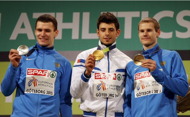 Winner Greco of Italy second placed Samitov and third placed Fyodorov of Russia show their medals after the men's Triple Jump event at the European Athletics Indoor Championships in Gothenburg