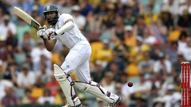 South Africa's Hashim Amla plays a shot against Australia during the first cricket test match at the Gabba in Brisbane (Reuters)