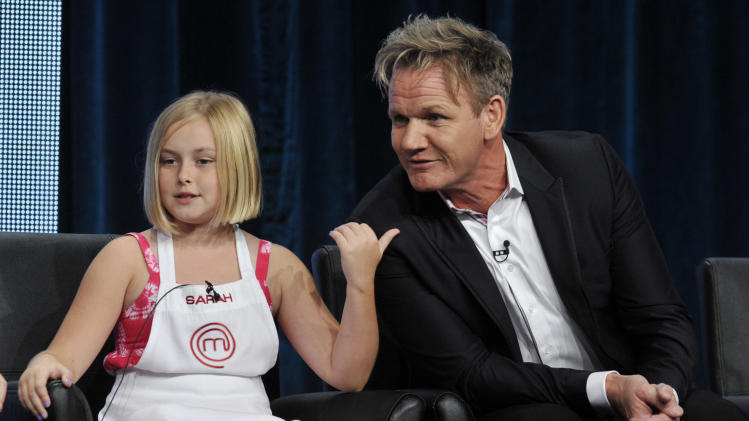 "Sarah, a contestant on the FOX show ""Master Chef Junior,"" gestures to judge/executive producer Gordon Ramsay during a panel discussion on the show at the FOX 2013 Summer TCA press tour at the Beverly Hilton Hotel on Thursday, Aug. 1, 2013 in Beverly Hills, Calif. (Photo by Chris Pizzello/Invision/AP)"