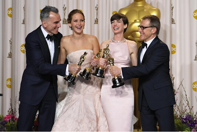 From left, Daniel Day-Lewis, with his award for best actor in a leading role for