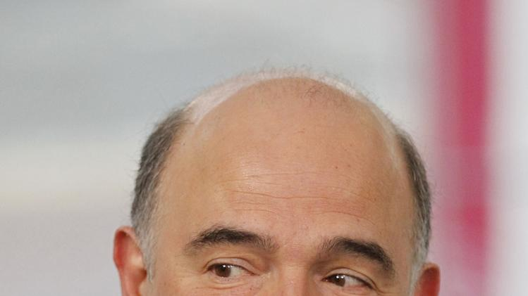 France's Finance Minister Pierre Moscovici arrives for the Informal meeting of ECOFIN Ministers in Dublin Castle, Ireland, Friday, April 12, 2013.  (AP Photo/Peter Morrison)