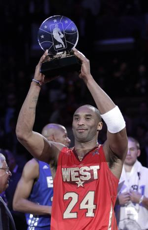 West's Kobe Bryant holds up the MVP trophy after the NBA basketball All-Star Game in Los Angeles, Sunday, Feb. 20, 2011. The West won 148-143. (AP Photo/Jae C. Hong)