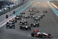 Lewis Hamilton leads the field at the start of the Abu Dhabi Grand Prix. The British former world champion went out on lap 20 due to a power failure