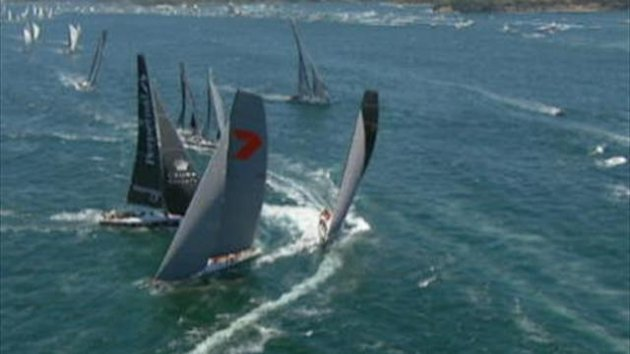 Defending champions Wild Oats XI are among the frontrunners after day one of this year's Sydney to Hobart race.