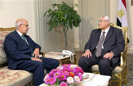 Handout picture showing Egypt's interim President Mansour meeting opposition leader and former U.N. nuclear agency chief Mohamed ElBaradei at El-Thadiya presidential palace in Cairo